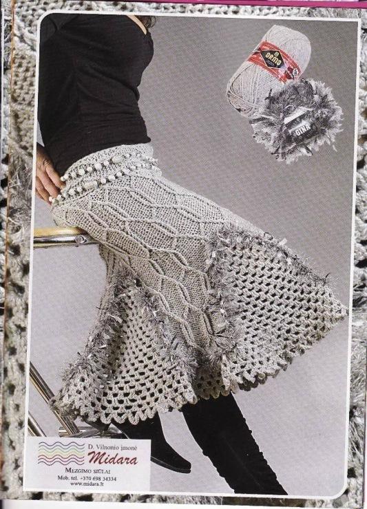 теплая вязаная юбка годе спицами с фигурной кокеткой Эта теплая вязаная юбка расклешенного силуэта стильно смотрится
