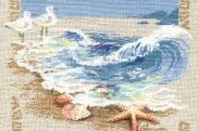 Размер (Ш х В): 190 х 185 крестик.  Красивые и свежие волны прибоя как-будто вот-вот перельются через рамку в...
