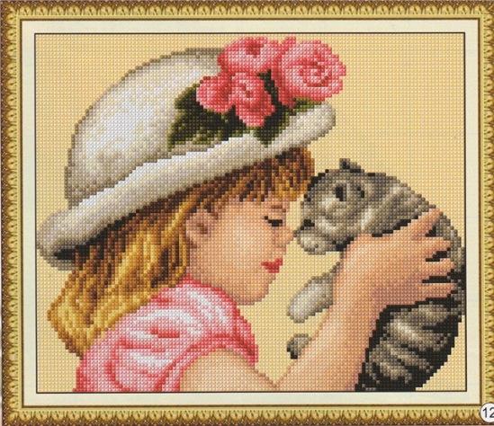 Вышивка девочка и кот 65