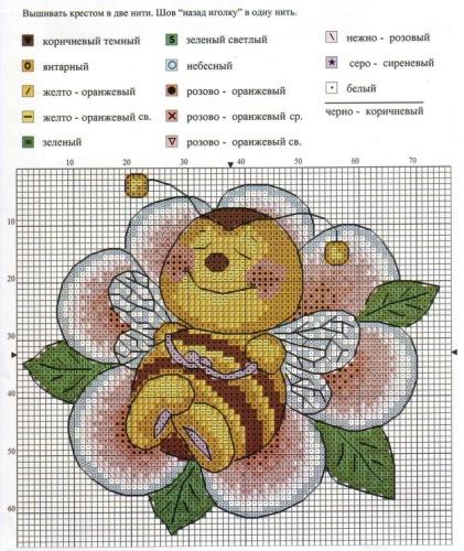 Схему вышивки крестом пчелка 90