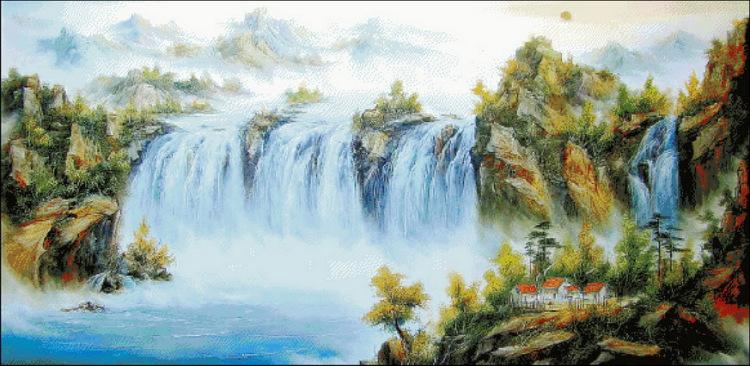 Вышивка китайский пейзаж схема вышивки 73