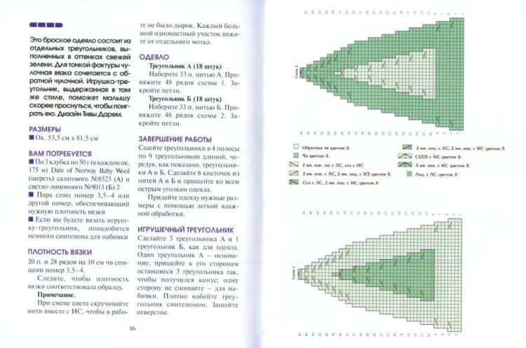 Вязание спицами треугольника 34