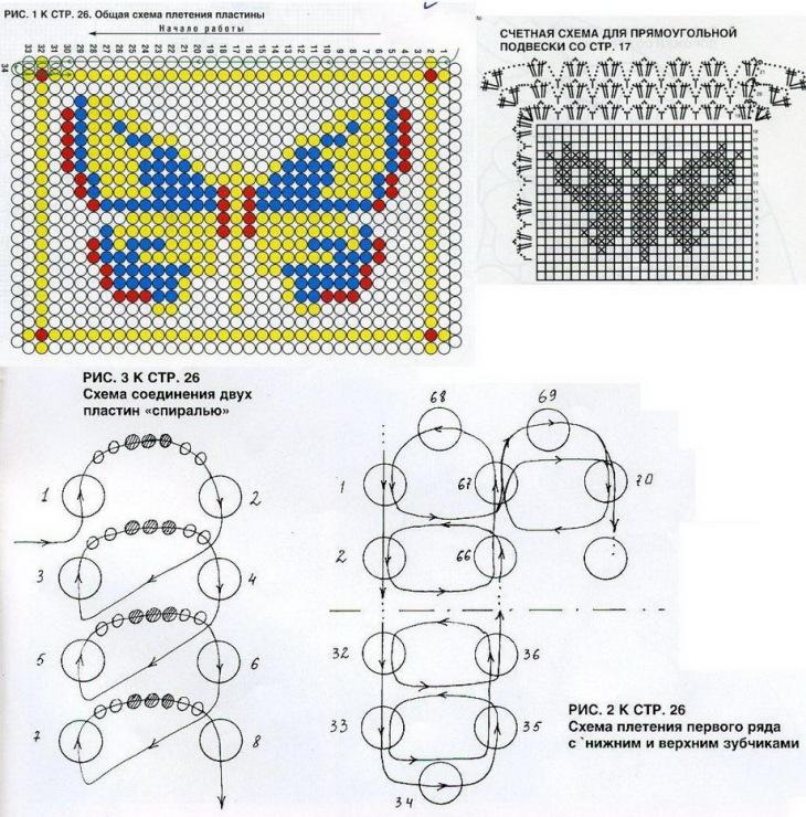 Плетение бисером схемы в картинках широкие браслеты