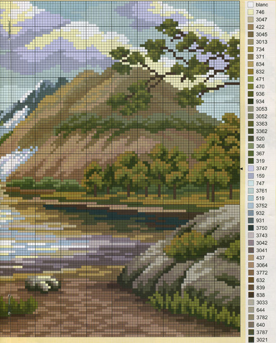 """Схема вышивки  """" пейзаж """": таблица цветов."""