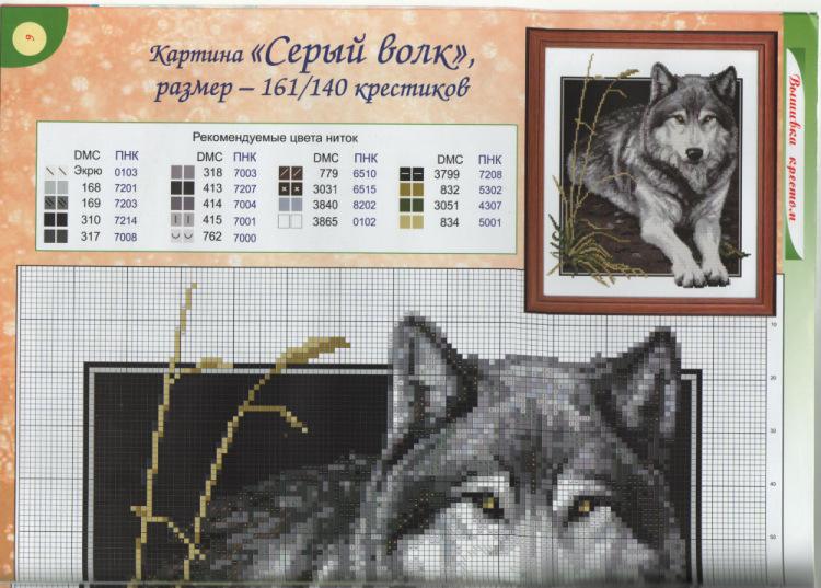 Волки схема для вышивки