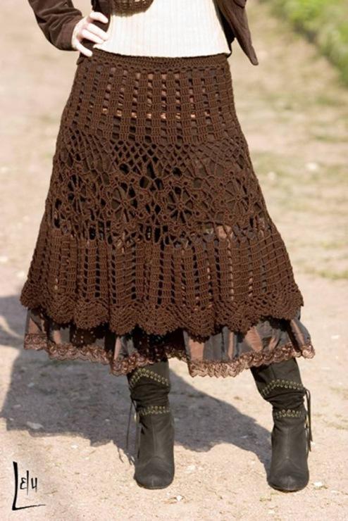 Схема вязания спицами юбки