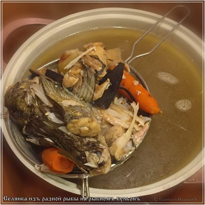 Селянка из рыбы на рыбном бульоне