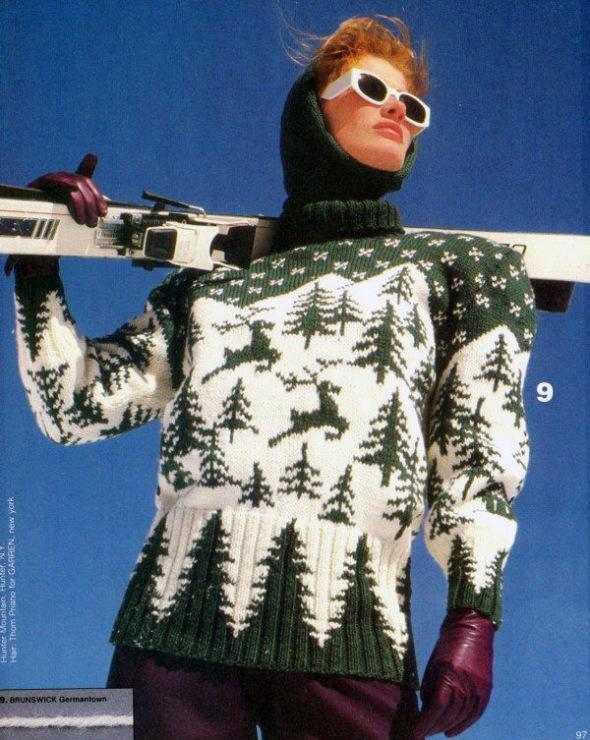 100% мериносовой шерсти, 90 м/50 г) прямые спицы 4 и 4,5... Жаккардовый вязаный свитер с оленями схемы вязания